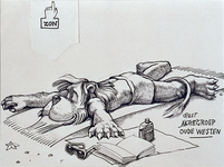 1987-2654-1 Tekening van Gerard Goosen welke hij in de periode 1973-1976 maakte voor aktiegroep het Oude Westen