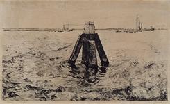 1988-1675 Gezicht op de Nieuwe Waterweg, gezien waarschijnlijk naar de noordelijke oever. In het midden een ducdalf.