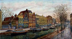 1990-1488 Uitzicht op de woonhuizen aan het Haagseveer. Rechts de ophaalbrug over het Stokviswater.