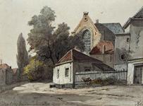 1990-176 Gezicht op de achterzijde van de Oude kerk aan de Aelbrechtskolk bij de Achterwater.