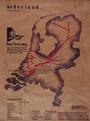1990-2804 Kaart die de overtocht aangeeft van Zuid-Holland (bezet gebied) naar Noord-Brabant (bevrijd gebied) door de ...