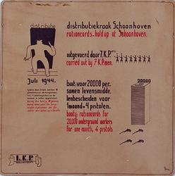 1990-2805 Juli 1944Aanplakbiljet van een roofoverval op een distributiekantoor in Schoonhoven door de verzetsgroep LKP ...
