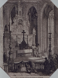 1990-342 Anonieme voorstelling van het altaar in de Grote Kerk.