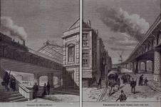 1990-351-1-EN-2 Station Beurs links en spoorwegviaduct aan de Gedempte Binnenrotte rechts.