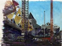 1992-251 Bouw van de blokwoningen over de Blaak.