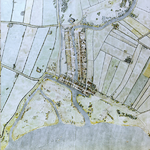 1992-3205 Reconstructietekening van Rotterdam anno 1340 met de dam in de Rotte. Rechts: de rivier de Rotte. Boven: het ...