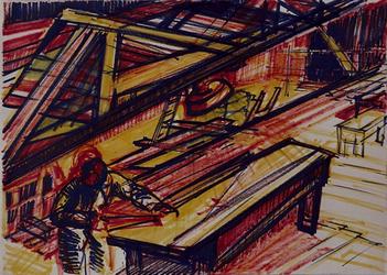 1992-33 Schetstekening van de bouw van de Doelen.