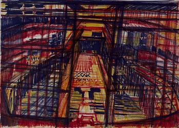 1992-35 Schetstekening van de bouw van de Doelen.