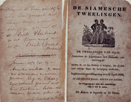 1993-2829 De tweelingen van Siam (waarvan de lichamen met elkander zijn vereenigd) te zien op dinsdag, 19 april 1836, ...