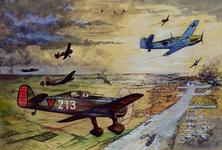 1993-42 Duitse vliegtuigen bestoken het vliegveld Waalhaven. Jachtvliegtuigen van Fokker zetten een achtervolging in.