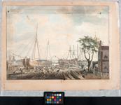 1994-1231 Gezicht op scheepswerf Rotterdams Welvaren aan het Boerengat. Op de voorgrond scheepstimmerlieden aan het ...