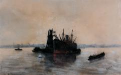 1997-663 Schip vastgemeerd aan boei op de Nieuwe Maas, ernaast een graanelevator.