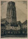1998-351 Gezicht op de toren van de Sint-Laurenskerk. Op de voorgrond de Bagijnenstraat.