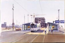 1999-55 De Willlemskade met tramhalte, tram en een in- en uitgang van metrostation Wilhelminaplein. Op de achtergrond ...