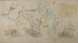 2000-1005 Karikaturale schets van twee cafébezoekers temidden van diverse vertegenwoordigers van vrije beroepen: een ...