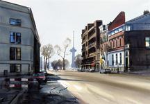 2001-2438 Gezicht in de Westerstraat vanuit oostelijke richting. Links de Maasstraat, op de achtergrond de Euromast.