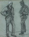 2001-2530 Twee havenwerkers met een halfopen zak, die dient ter bescherming van het hoofd tijdens het sjouwen.
