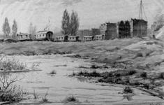2001-784 Gezicht op een woonwagenkamp nabij de Rotte en het Noorderkanaal. Op de achtergrond huizen aan de ...