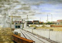 2001-949 Gezicht op de noordelijke ingang van de in aanbouw zijnde metrotunnel onder de Nieuwe Waterweg, gezien in ...