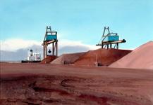 2002-1700 Gezicht op het terrein van Ertsoverslagbedrijf Europoort C.V. aan de Markweg 131 waar een schip wordt gelost ...