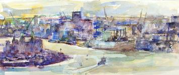 2002-481 Panoramisch gezicht op de Nieuwe Maas, links de Rijnhaven en daarachter de wijk Katendrecht. Links op de ...