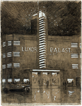 2004-1065 Theater Luxor Palast aan de Kruiskade bij avond.