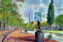 2006-760 Gezicht op de Westersingel vanuit zuidelijke richting. Op de voorgrond een aantal sculpturen. Op de ...