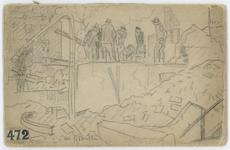 2007-2445 Schetsboekje van Willy Sluiter met 7 schetsjes van het door het Duitse bombardement van 14 mei 1940 getroffen ...