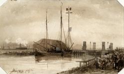 2007-758 Schip bij kraanbrug over de Delfshavense Schie, gezien vanuit noordwestelijke richting