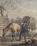 BP-109 Een militair roskamt een paard.