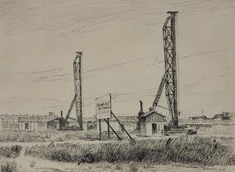 II-99-02-01 Bouwterrein op de hoek Franselaan en Groenewegje, waar heipalen worden aangebracht voor funderingen van ...