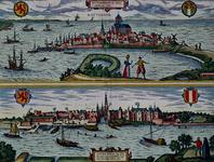 III-10-1 Rotterdam gezien als schiereiland.Gouda, gezicht vanaf de rivier.