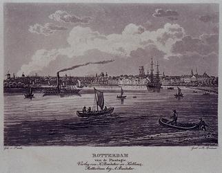 III-106 `Rotterdam van de Plantagie'. Gezicht op de stad, gezien uit het zuidoosten van nabij de Oude Plantage. In het ...