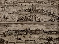 III-11 De stad Rotterdam, omringd door water. Rechts de Oostzeedijk en de ingestorte Oostpoort. Links boven het wapen ...