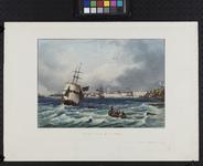 III-112 Vue de la ville de Rotterdam. Gezicht op de Nieuwe Maas en de stad uit het zuidoosten van nabij de Oude ...