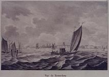 III-115 Gezicht op de Nieuwe Maas, uit het zuidoosten. Op de voorgrond een veerpont met een koets en paarden.