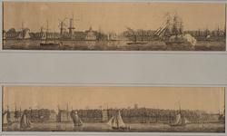 III-121-01A Gezicht op de stad (linker helft in twee delen). Links de Korenmolens Arend, Oranjeboom en Pelicaan, dan ...