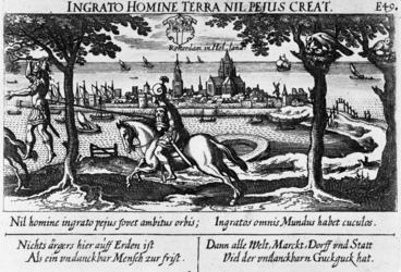 III-15 Gezicht op Rotterdam met op de voorgrond de bijbelse figuren Absalom, met zijn haren aan een boomtak hangend, en ...