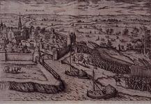 III-16 9 april 1572. De overweldiging van Rotterdam door de graaf van Bossu en zijn Spaanse soldaten. Gezicht op het ...