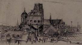 III-161-01 Gezicht op de R.K. Kerk aan het Steiger en Sint-Laurenskerk, rechts dak van de Zeevismarkt.