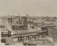 III-191 Het geraseerde stadsdeel: op de voorgrond spoorwegviaduct met Beursstation en op de achtergrond het ...