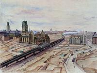 III-193 Gezicht uit het zuiden op de verwoeste binnenstad met onder andere het spoorwegviadukt en de Grote Kerk.