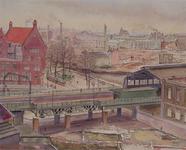 III-194-2 Het geraseerde stadsdeel tussen Wijnhaven en Hoogstraat, uit het zuidoosten. Op de voorgrond het spoorwegviaduct.