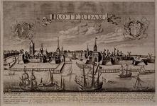 III-23 Gezicht op de stad over de Nieuwe Maas. Sterk samengedrongen stadsgezicht met nogal geprononceerde ...