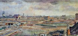 III-231 De verwoeste binnnenstad tussen het spoorwegviadukt en de Leuvehaven. In het midden werkzaamheden aan de nieuwe ...