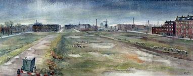 III-246 Kralingen. Verwoest stadsdeel tusschen Plantageweg en Gedempte Slaak, gezien vanuit de Weteringstraat R'dam 1944.