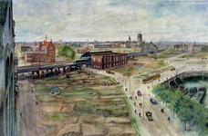 III-247 Gezicht op de stad vanaf het Witte Huis met het spoorwegviaduct, Station Beurs en de Sint-Laurenskerk naar het ...