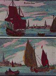 III-28-1-t.m.-4 Rotterdam: Gezicht op de Nieuwe Maas, op de voorgrond links een fregat. Op de achtergrond profiel van ...