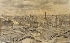 III-302 Uitzicht van de Grote Kerktoren: Steigersgracht, Leuvekolk en Leuvehaven en omgeving. Gebouwen van Gerzon en de ...