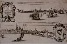 III-31-01 Gezicht op de stad over de Nieuwe Maas in twee delen. Boven: van mond Leuvehaven (links) tot mond Oudehaven ...